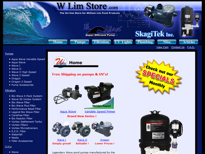 W Lim Store web site for W Lim Wave, dragon and pond products