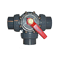"3-way valve, 2"" socket w/ unions"
